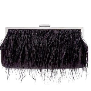 INC Carolyn Feather Pouch Clutch Black Bag
